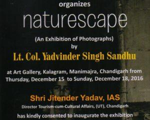 'Naturescape'  Kalagaram में लेफ्टिनेंट कर्नल Yadvinder सिंह संधू द्वारा तस्वीरों की एक प्रदर्शनी, 15 दिसंबर से 18 दिसंबर 2016
