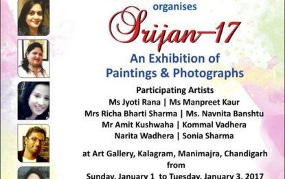 'सृजन-17' – चित्रों और तस्वीरों कीआर्ट गैलरी, Kalagram, चंडीगढ़ में  एक प्रदर्शनी