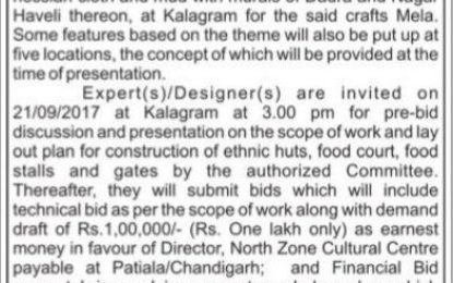 9th Chandigarh National Crafts Mela- Expression of Interest dated 13-09-2017