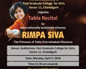पीजीसीजी, सेक्टर 11, चंडीगढ़ में 'रिम्पा शिव' द्वारा तबला का स्वरुप एनजेडसीसी द्वारा आयोजित किया जाएगा