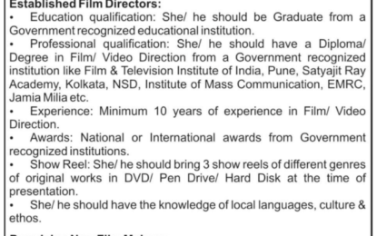 Expression of Interest regarding Research based Documentary Films.