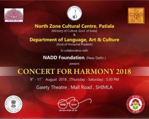 9 अगस्त से 11, 2018 तक शिमला में एनजेडसीसी द्वारा आयोजित सद्भावना-2018 के लिए संगीत कार्यक्रम।