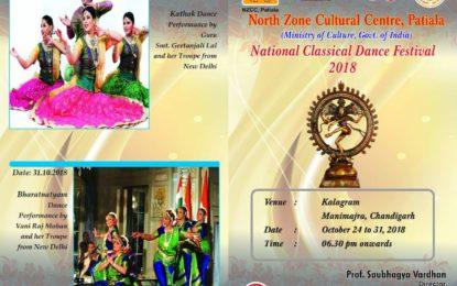 चंडीगढ़ में एनजेडसीसी द्वारा आयोजित राष्ट्रीय शास्त्रीय नृत्य महोत्सव।
